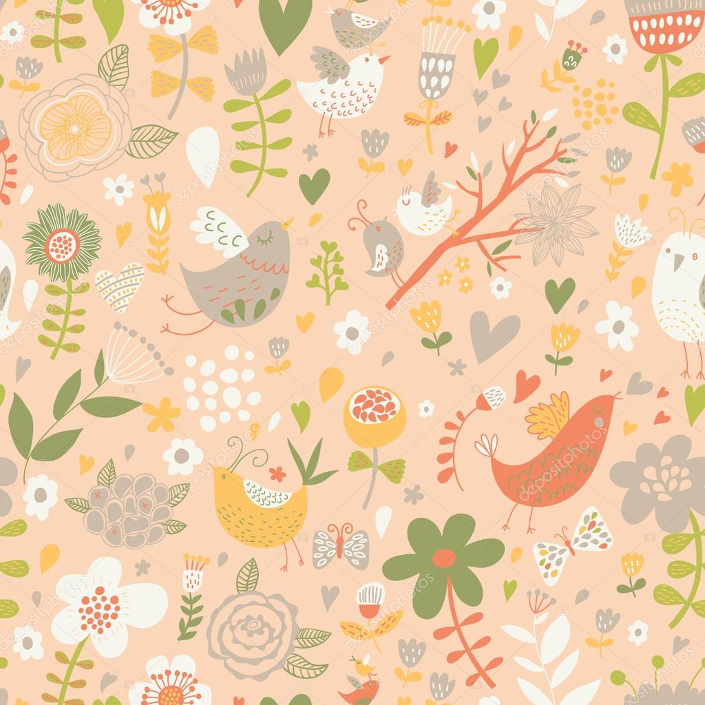 Pattern with birds, hearts and butterflies.