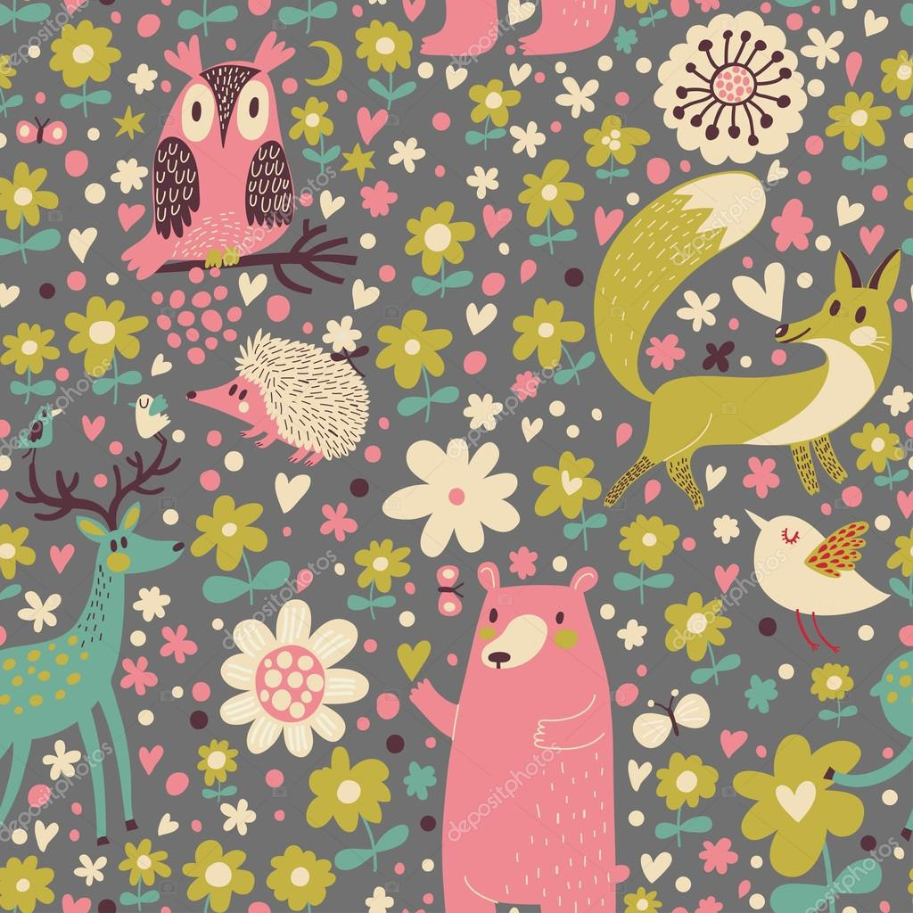 fox, bear, rabbit, owl, snail in trees and flowers.