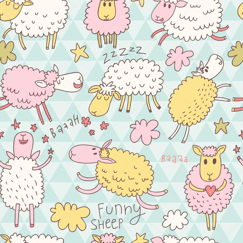 ovejas de divertidos dibujos animados en el cielo — Vector de stock ...