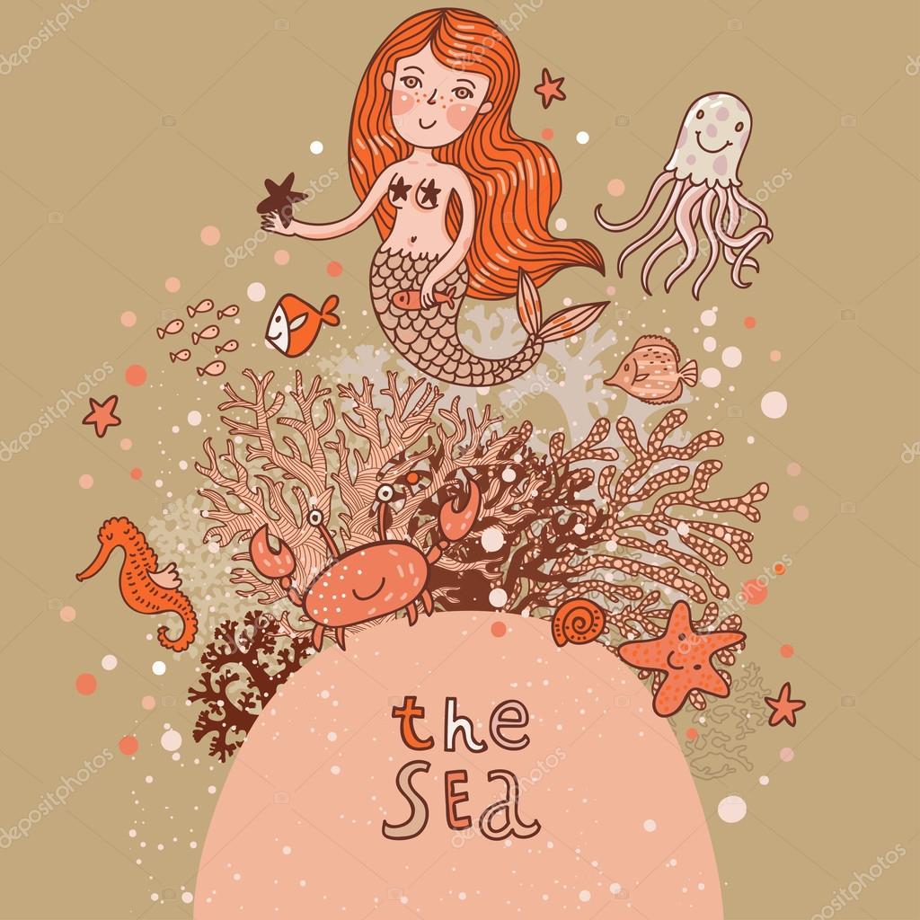 The sea  bright cartoon card