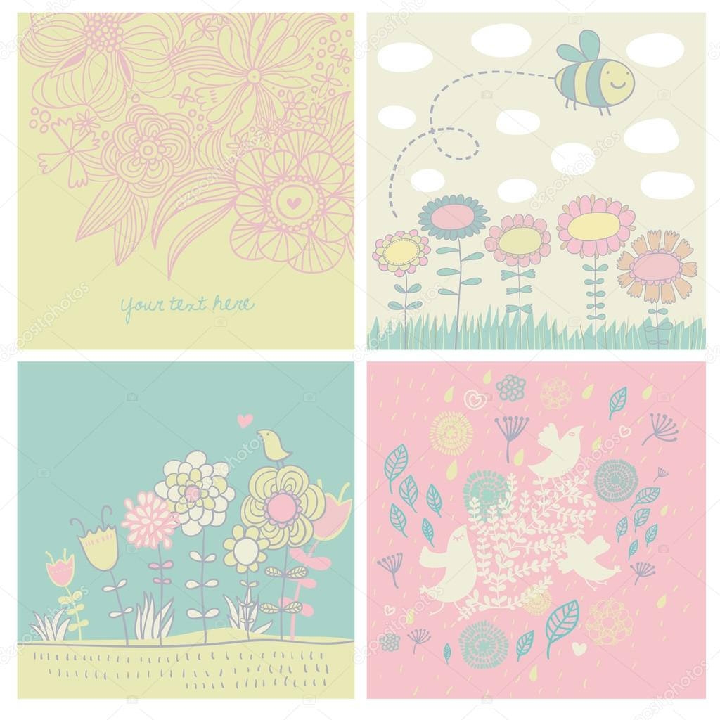 Backgrounds with flowers, birds and bee
