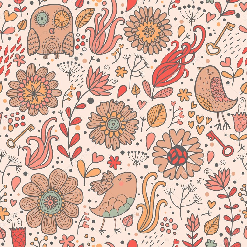 Wallpapers Owl Hd Vintage Floral Background With Owl Flowers