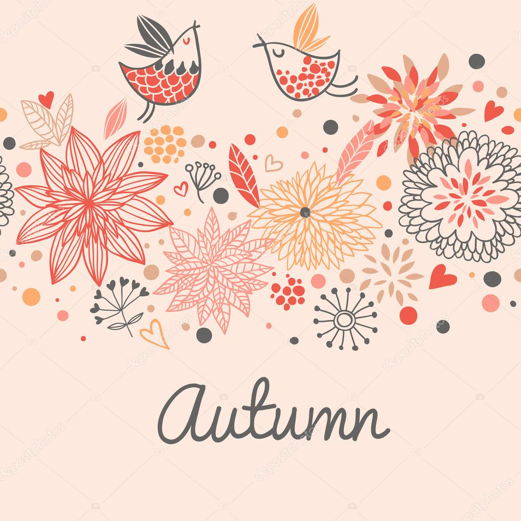 Autumn seamless pattern with cute birds, flowers and hearts