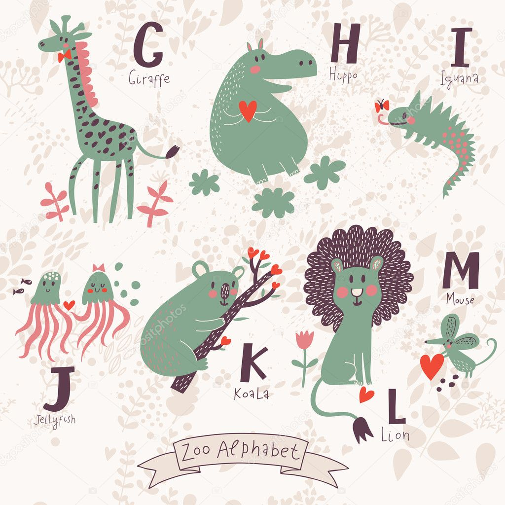 Cute zoo alphabet in vector. G, h, i, j, k, l, m letters.