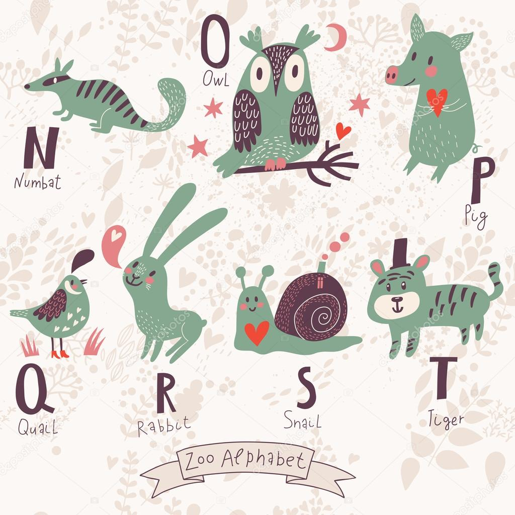 Cute zoo alphabet in vector. N, o, p, q, r, s, t letters.