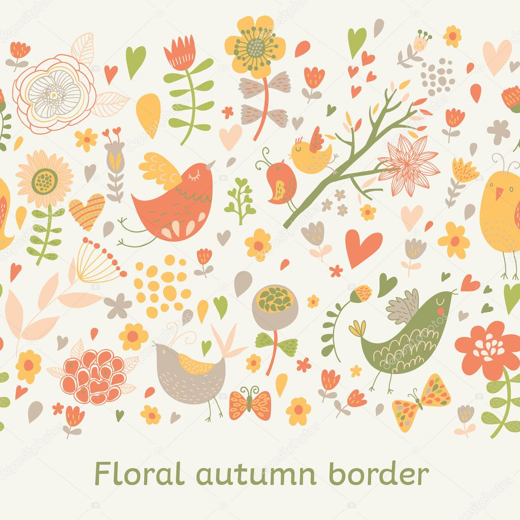 pattern with cute birds, flowers and butterflies.