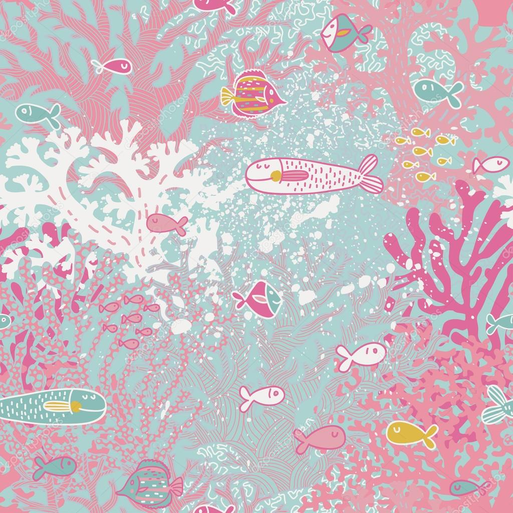 Cute seamless pattern with small fishes and corals.