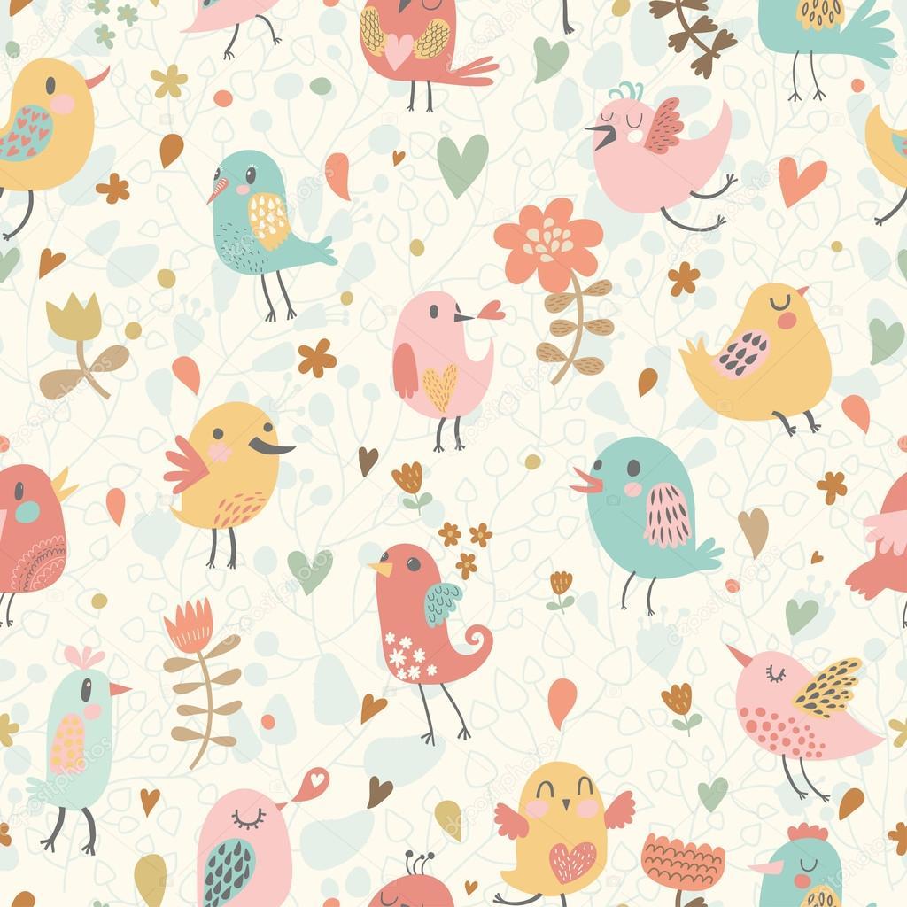 patrón lindo inconsútil con pequeños pájaros y flores — Vector de ...