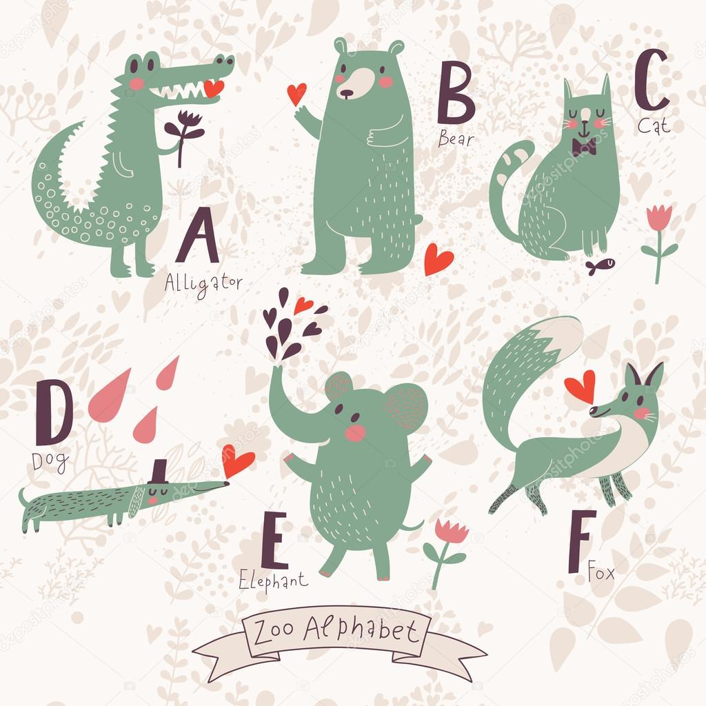 Cute zoo alphabet in vector. A, b, c, d, e, f letters.