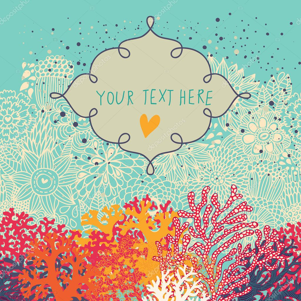Underwater card with textbox made of colorful corals