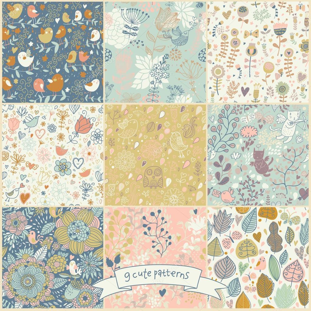 9 stylish floral seamless pattern