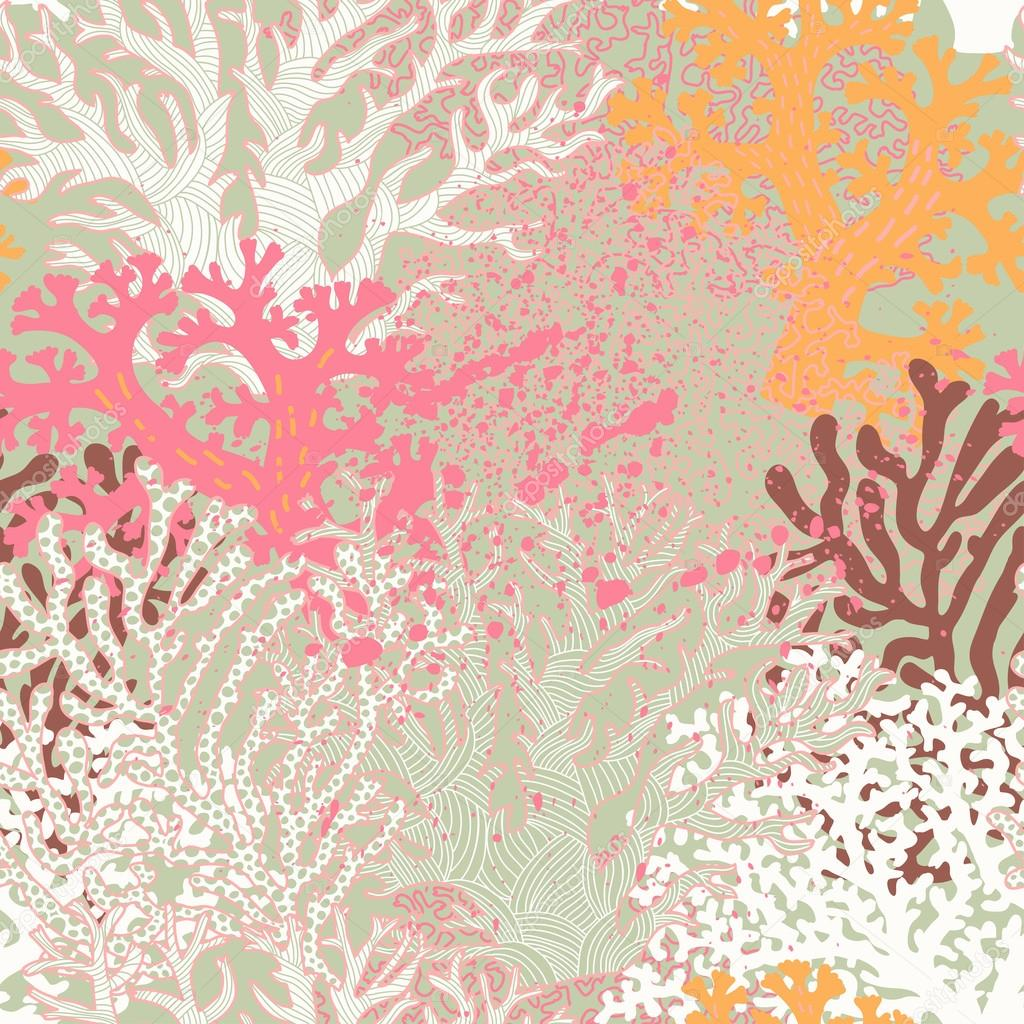 Bright underwater seamless pattern with beautiful corals.