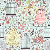 Fényképek minta a madarak, a baglyok, a ketrecben, a virágok és a virágzó fák