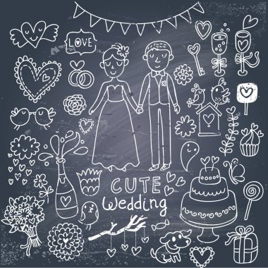 Vintage wedding set in cartoon style on chalkboard background. Couple of lovers, birds, dog, vine, rings, bouquet, hearts, flowers, cupcake, candy and other romantics symbols in vector stock vector