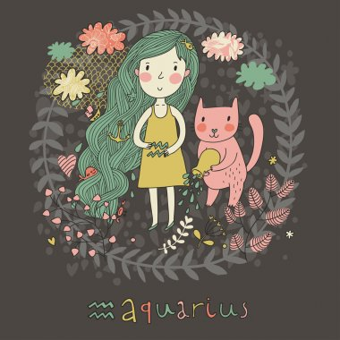 Cute zodiac sign - Aquarius. Vector illustration. Little girl with long beautiful hair with her pink cat in the clouds and flowers. Doodle hand-drawn style in dark colors clip art vector