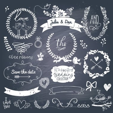 Wedding romantic collection with labels, ribbons, hearts, flowers, arrows, wreaths, laurel and birds. Graphic vintage set on chalkboard background. Save the Date invitation in vector. clip art vector