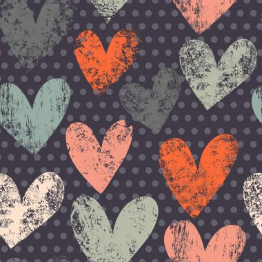 Bright romantic seamless pattern made of colorful hearts