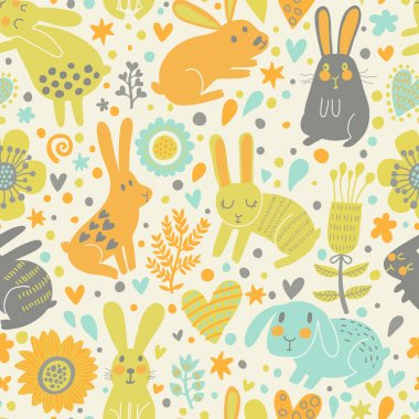 Cute rabbits in hearts and flowers.