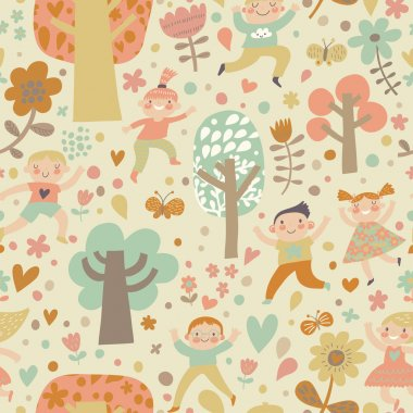 Children playing in forest in flowers, hearts and butterflies.