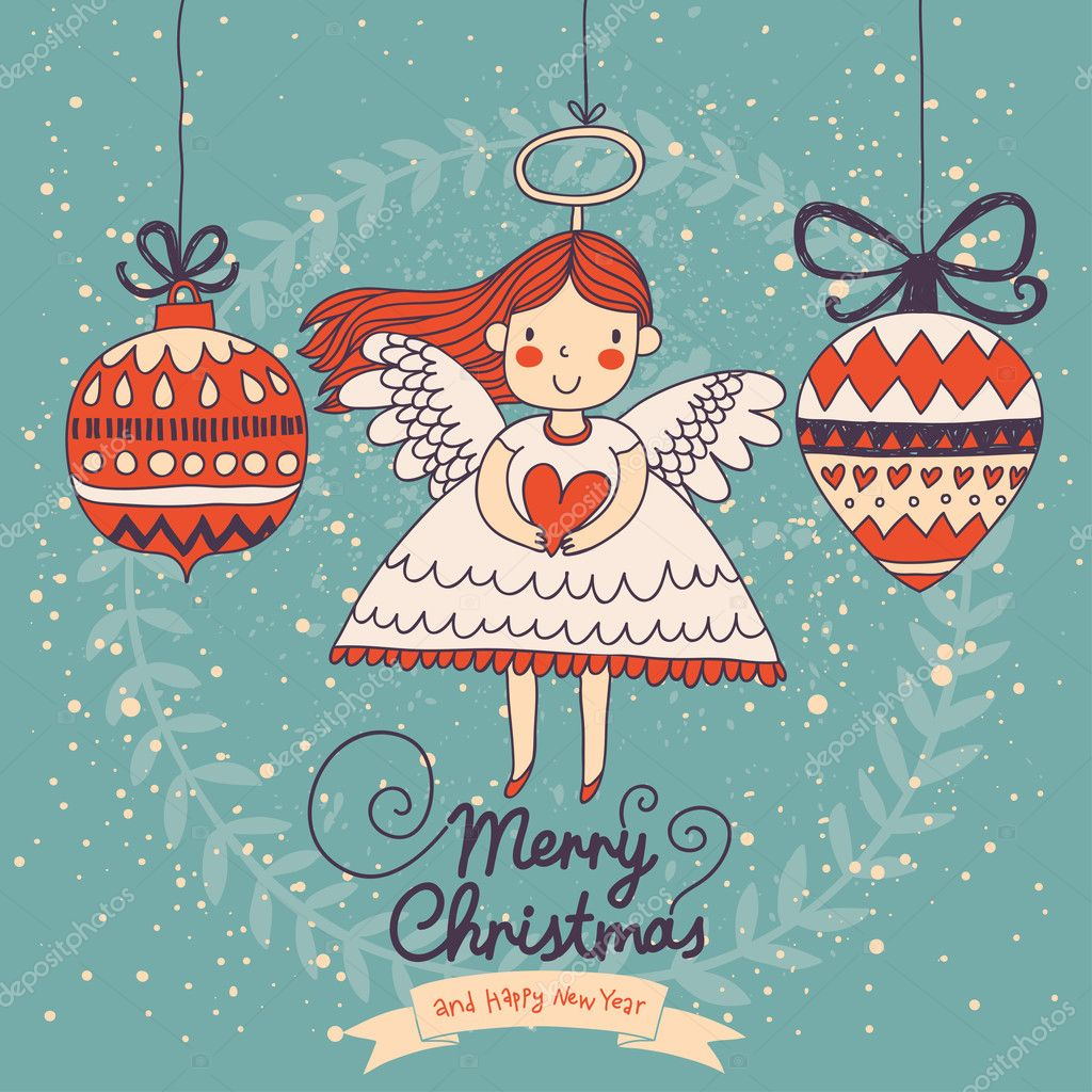 2a60a73c9a6f7 Cute Christmas card in vector. Bright holiday background with small funny  angel in New Year toys in cartoon style — Vector by ...
