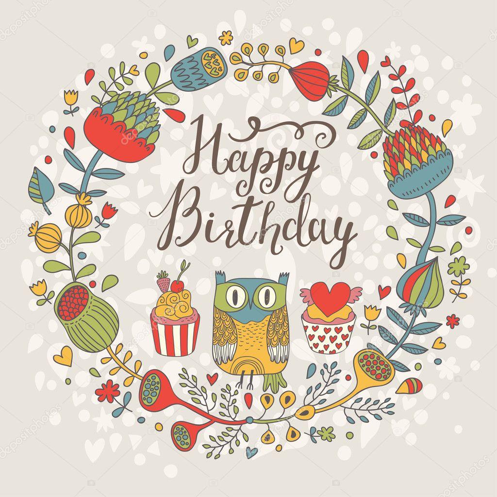 Поздравительная открытка графическая с днем рождения, днем рождения казахском
