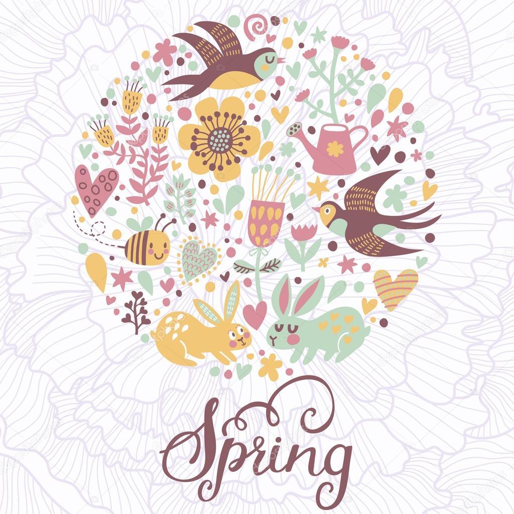 Spring concept card in vector.