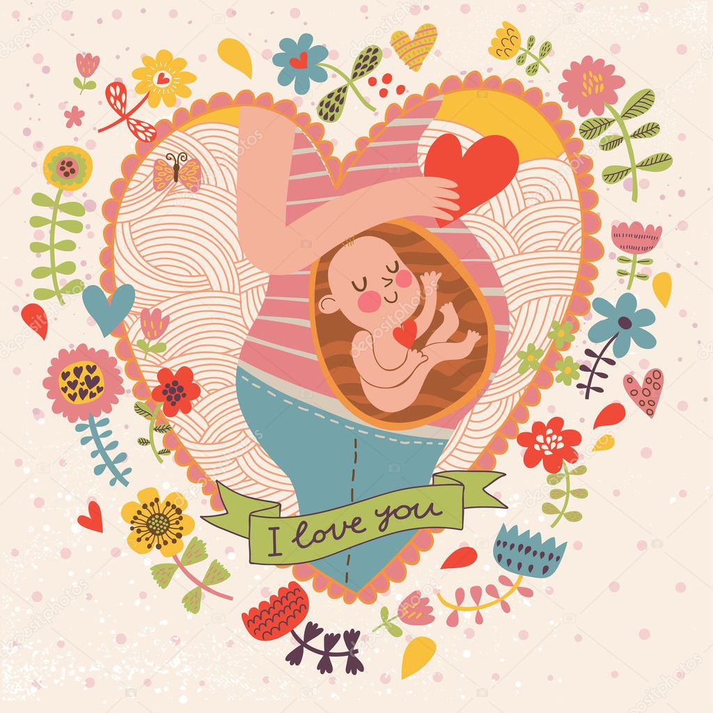 Pregnancy concept card in cartoon style.