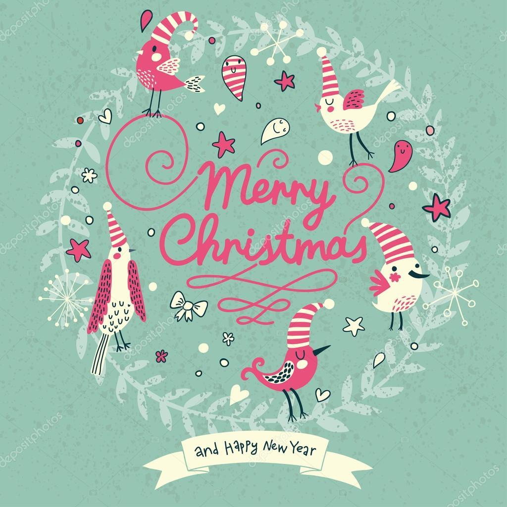 Joyeux Noel Carte Dans Des Couleurs Populaires Modernes Image