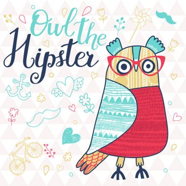 Owl the hipster in childish style.