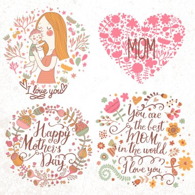 Cards with mother and child, flower wreath, hearts.