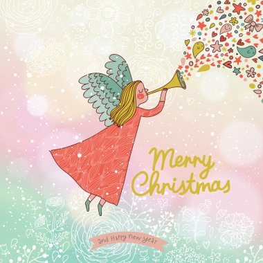 Childish Merry Christmas card in vector.