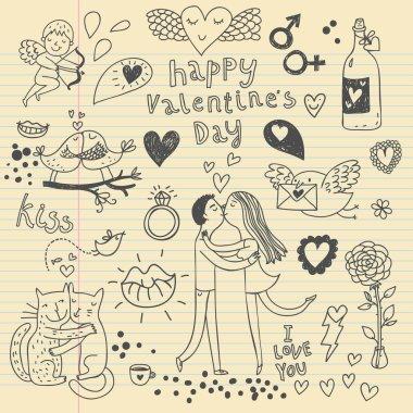Vector valentine doodles set clip art vector