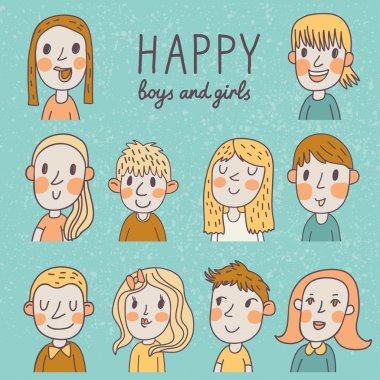 Happy boys and girls in vector set.