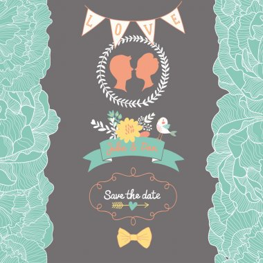 Gentle Save the Date card in bright colors with cute bird and flowers. Vector romantic wallpaper ideal for wedding designs. Vintage wedding background in vector clip art vector