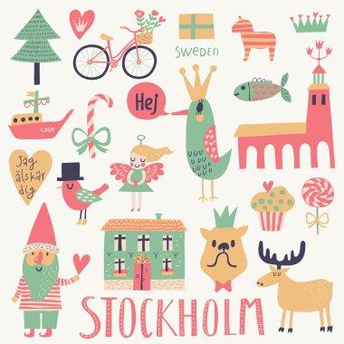 Stockholm concept set in vector.