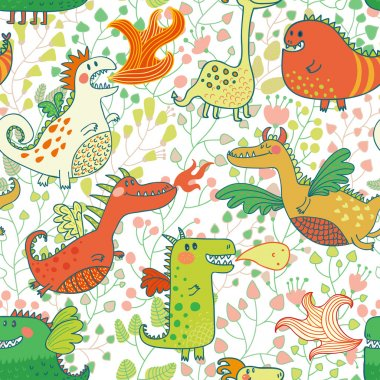 Funny seamless pattern with dragons in flower garden.