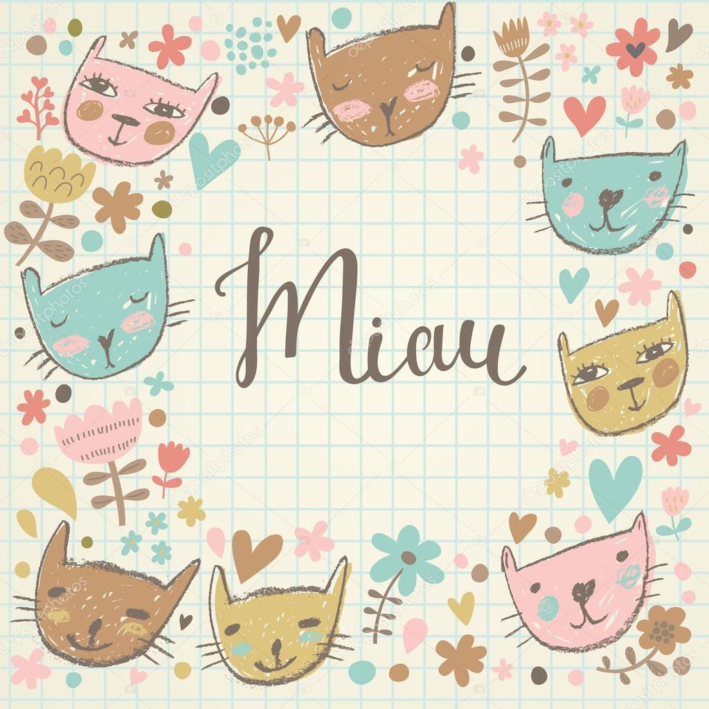 Colores y patrones de gatos | lindo patrón infantil inconsútil con ...