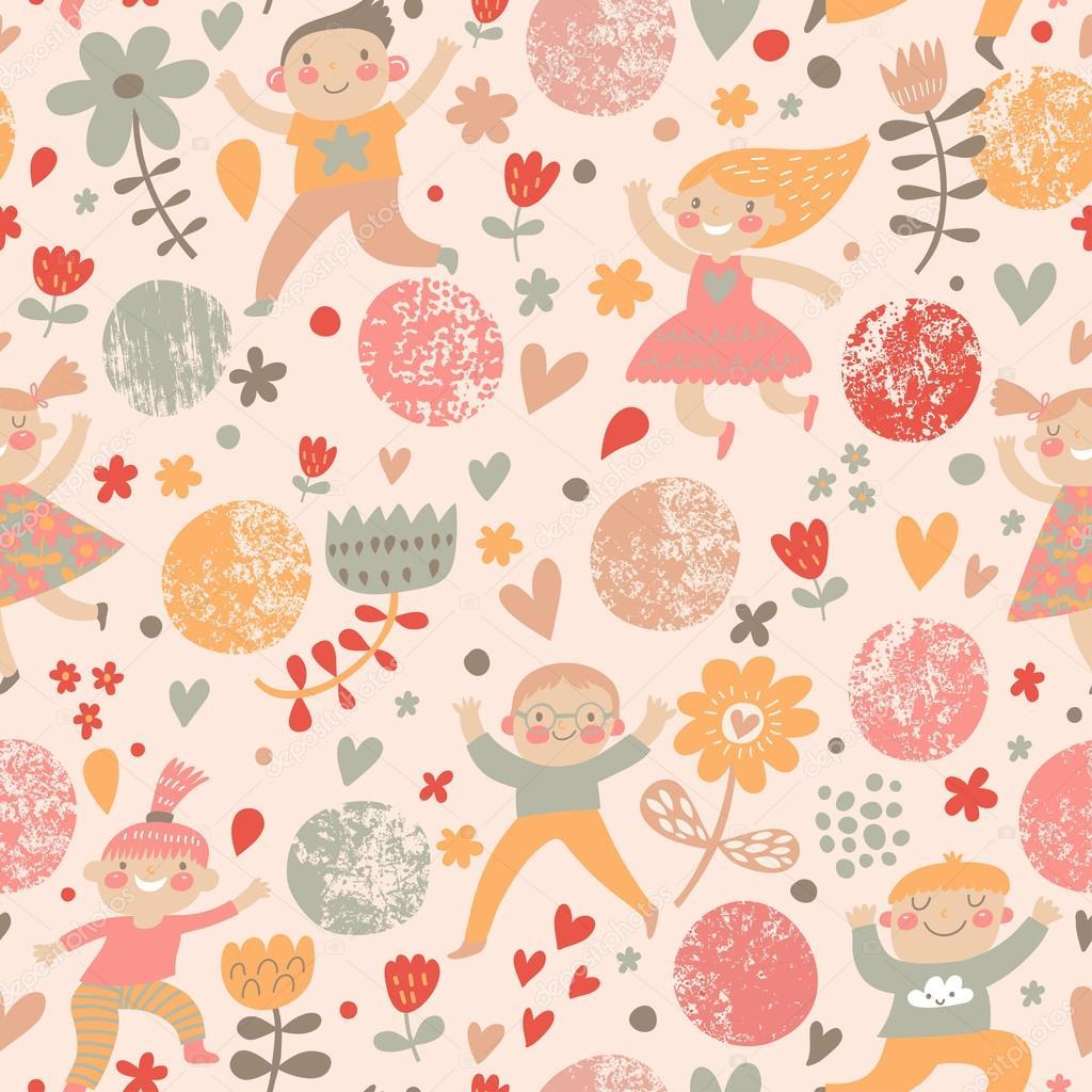 lustige kindisch nahtlose Muster in stilvollen, modernen Farben ...