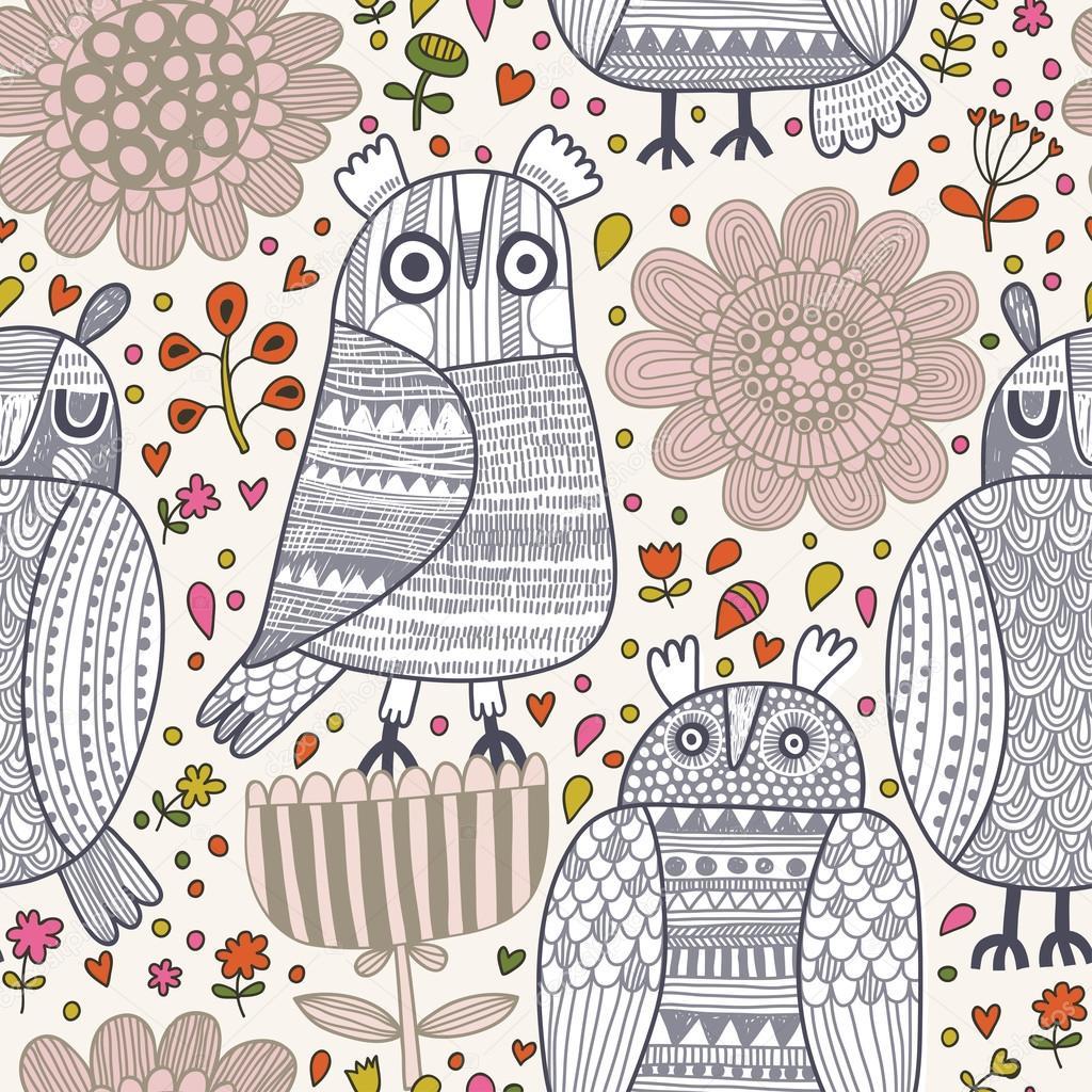 patrón sin costuras divertido lindo con búhos de dibujos animados ...