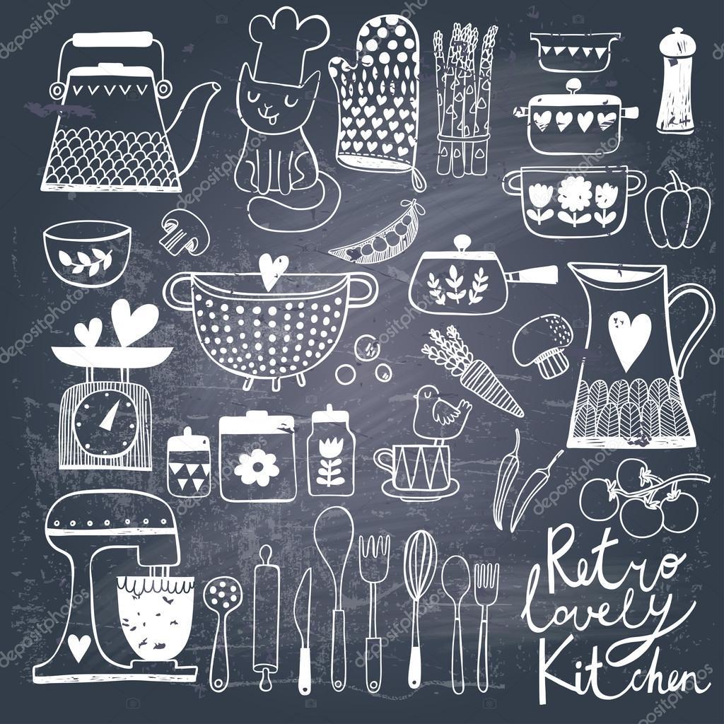 Vintage kitchen set in vector on chalkboard background for Kitchen set vector