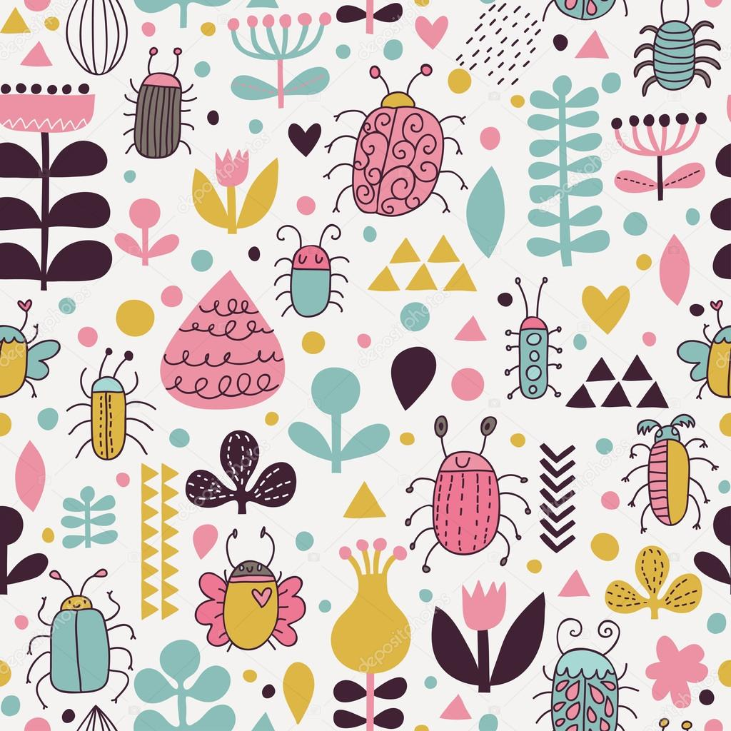 Stylish seamless pattern with bright bees and cute flowers