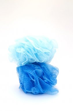 Blue shower exfoliators