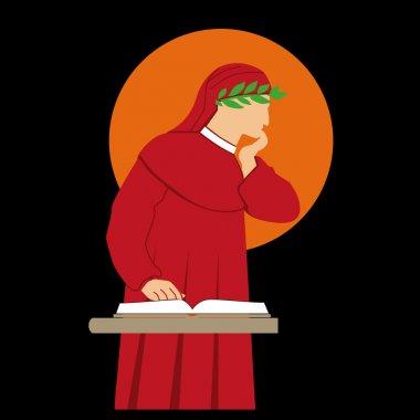Dante Alighieri vector silhouette