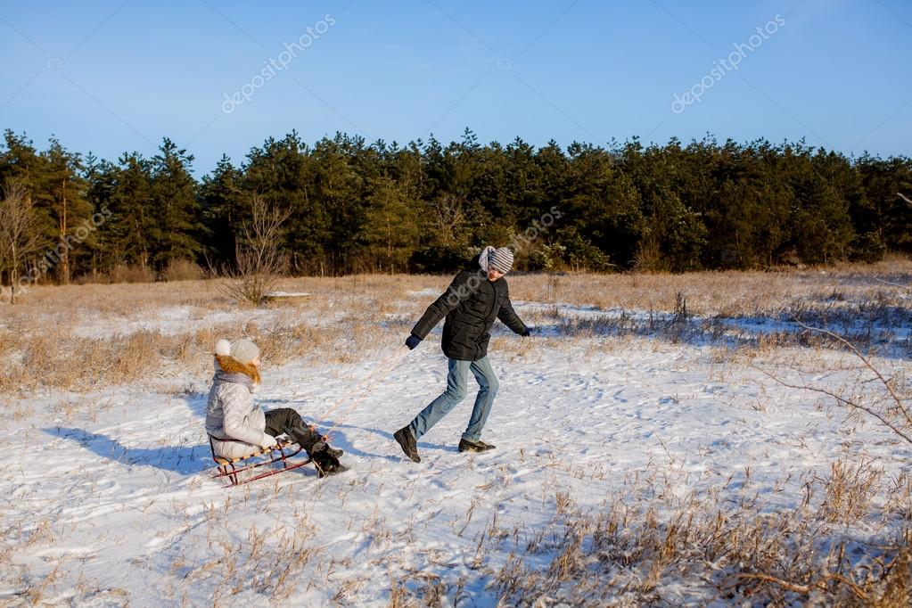 Children with sledge