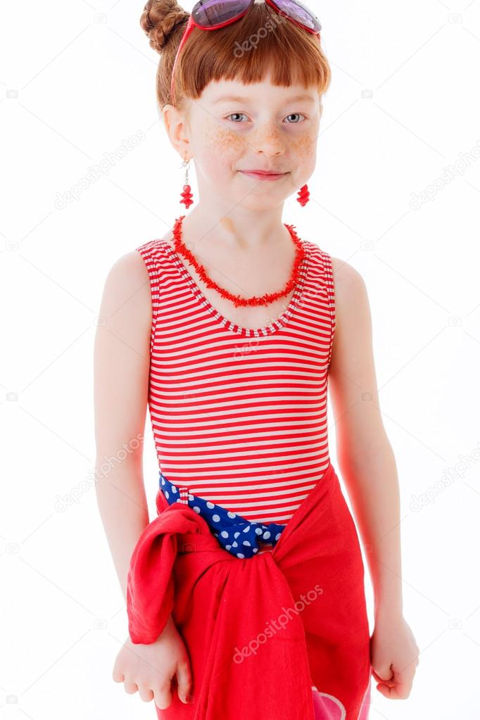 Little Girl In A Bathing Suit And Pareo  Stock Photo -1425