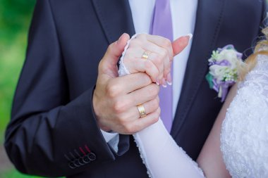 hands of a wedding  couple