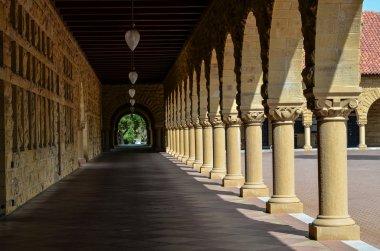 Pillared Corridor in Stanford University building in Palo Alto California