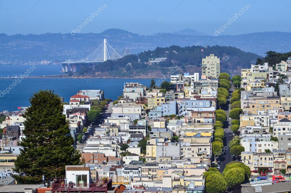 Exceptionnel Top view of Lombard street neighborhood in San Francisco — Stock  XB95