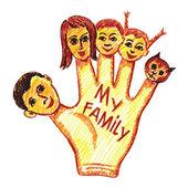 Fotografie Kinderzeichnung meiner Familie