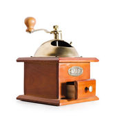 Fotografie Authentic red wood and metal coffee mill isolated